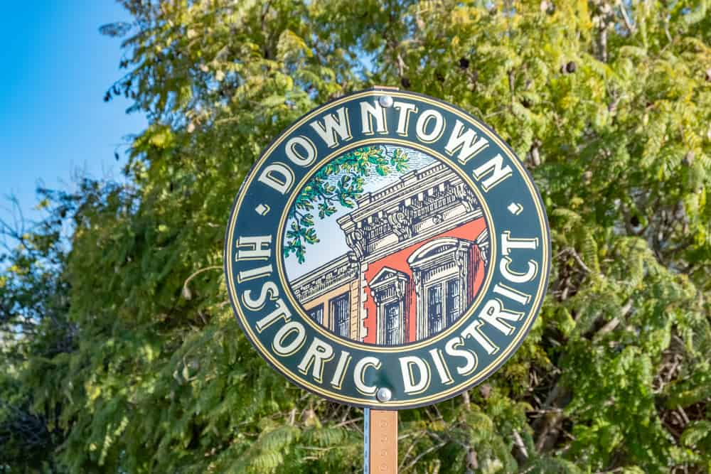 Downtown Historic District sign for neighborhood in San Luis Obispo, CA