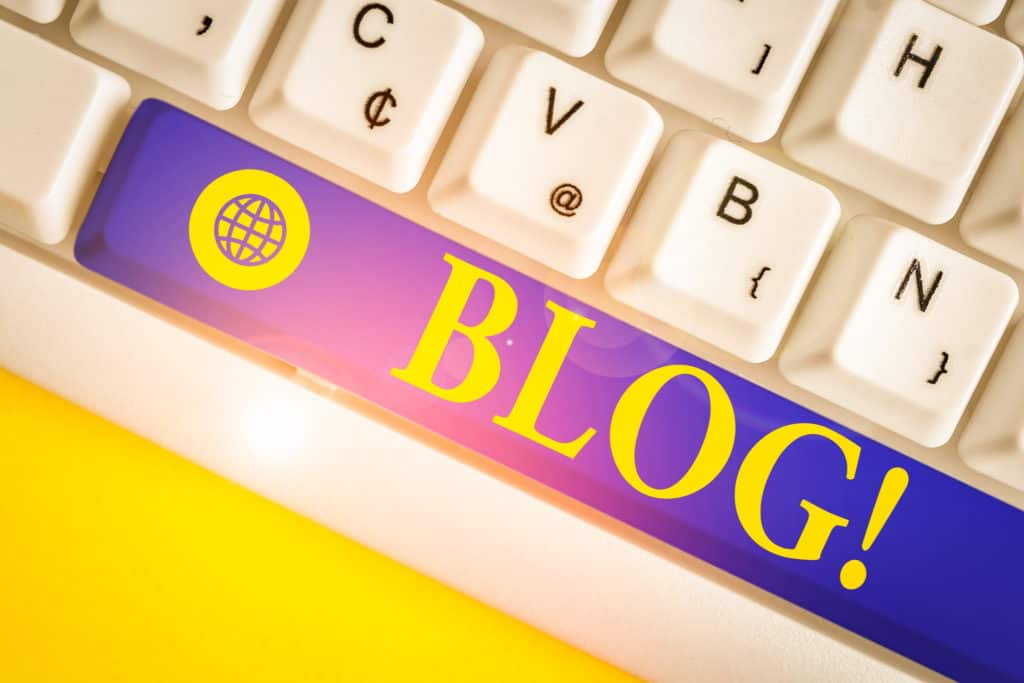 Blog in yellow on blue keyboard key